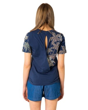 Blue Round Neck Floral Print T-shirt