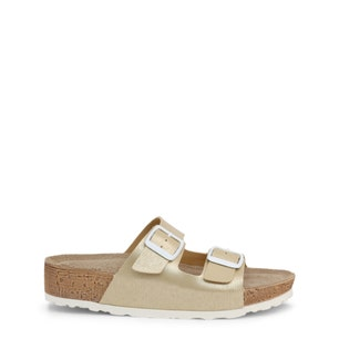 Gold Leather Buckle Pin Flip Flops