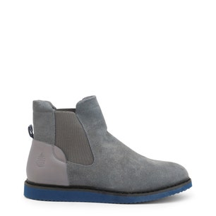 Grey Leather Elastic Ankle Boots