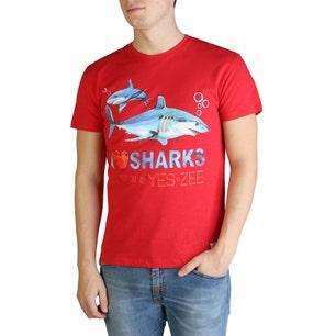 Red Round Neck Sharks T-shirt