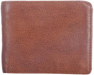 Brown Leather Stitched  Bi Fold Wallet