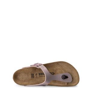Metallic Pink T- Strap Buckle Sandals