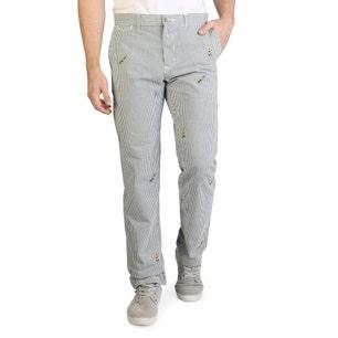 Striped Button Zipper Trouser