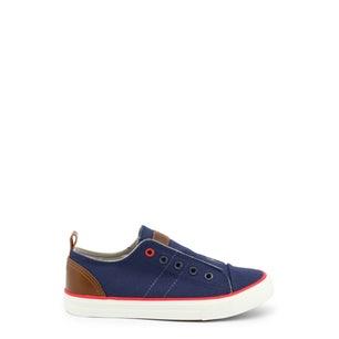 Blue Round Toe Eyelet Kids Sneakers