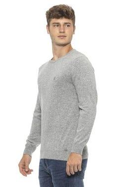 Grey Crew Neck Long Sleeve Pullover Knitwear