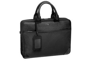 Black 2 Handle Leather Laptop Bag