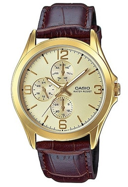 Golden Chrono Leather Strap Watch