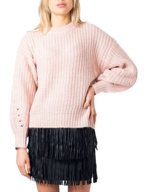 Pink Round Neck Long Sleeve Knitwear