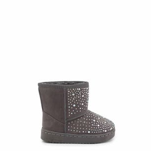 Grey Round Toe Studs Kids Ankle Boots