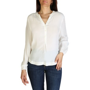 White V- Neck Long Sleeve Button Shirt