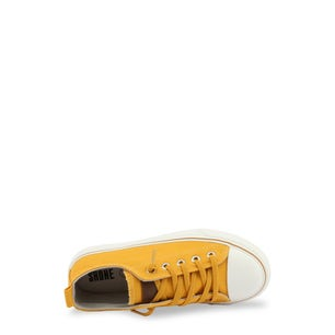 Mustard Canvas Lace Up Kids Sneakers