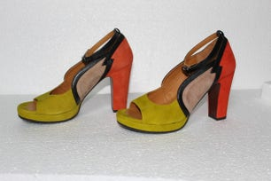 Leather Small Buckles Heel Pumps