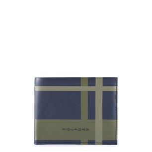 Navy Checkered Leather Bi Fold Wallet