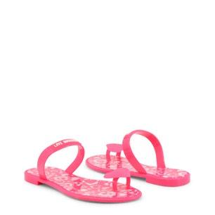 Pink Heart Elastic Gores Flip Flops