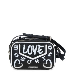 Black Leather Zip Love Crossbody Bag