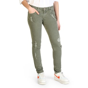 Button Zip Ripped Skinny Fit Jeans