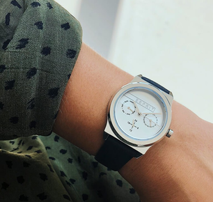 Leather Strap Silver Dial Chronograph Watch