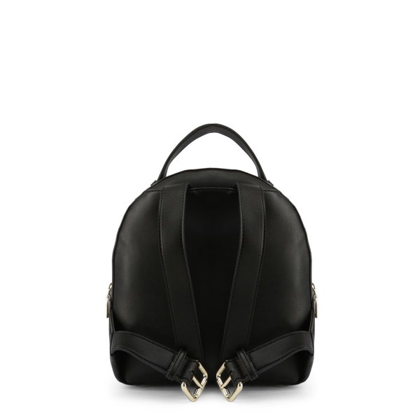 Black Round Zip Leather Backpack