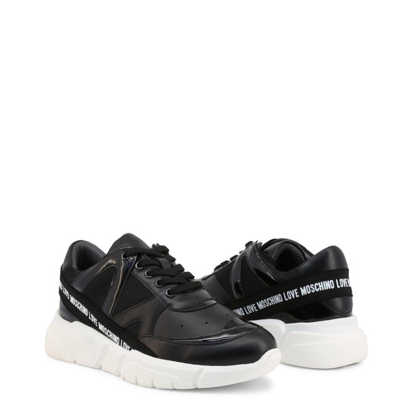 Black Leather Tape Trim Logo Sneakers