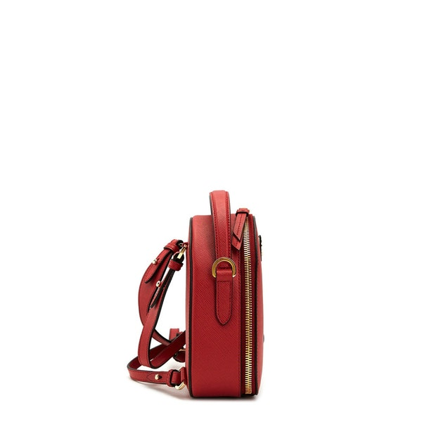 Red Leather Zip Saffiano Backpack