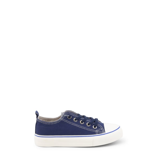 Blue Canvas Lace Up Kids Sneakers