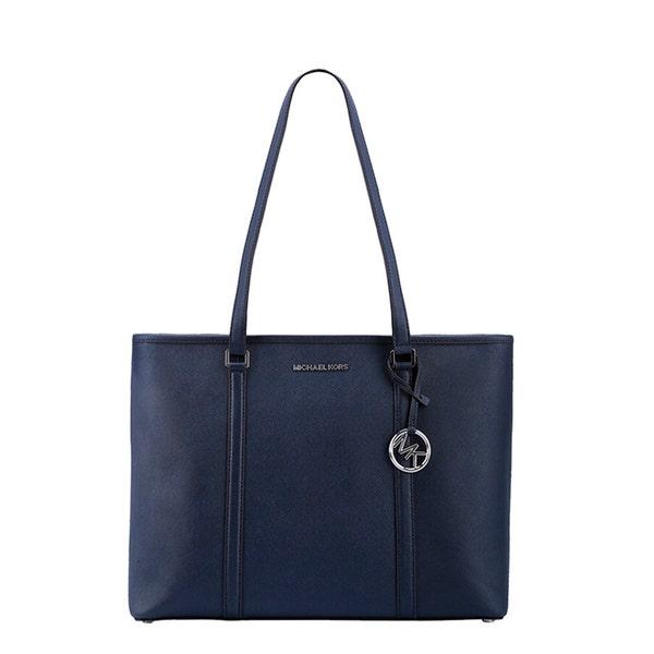 Blue Leather Zip Sady Shopping Bag