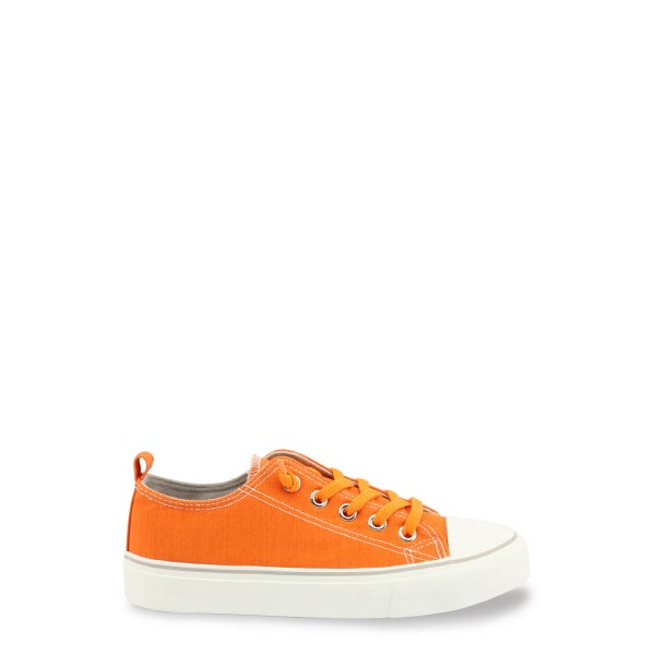 Orange Canvas Lace Up Kids Sneakers
