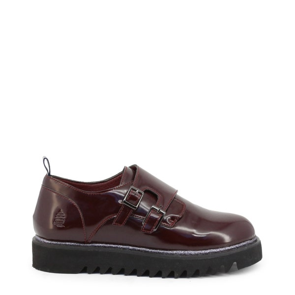 Red Leather Buckle Slip On Shoes