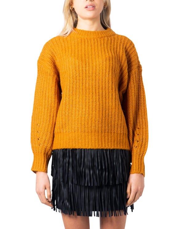 Orange Round Neck Long Sleeve Knitwear