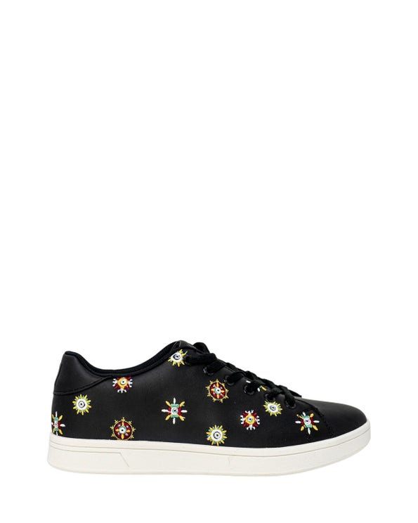 Round Toe Embroider Lace Up Sneakers