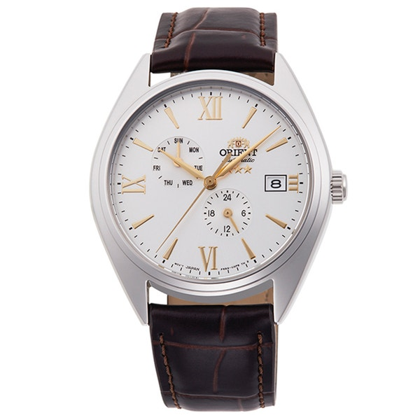 White Dial Tri Stars Mechanical Leather Strap Watch