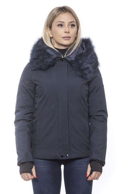 Blue Hoodie Faur Zip Long Sleeve Jacket