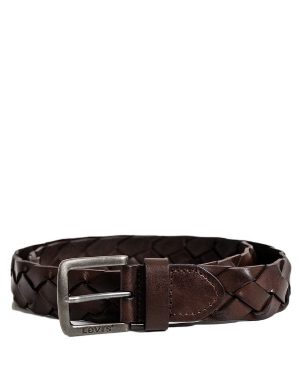 Brown Leather Woven Buckle Belt