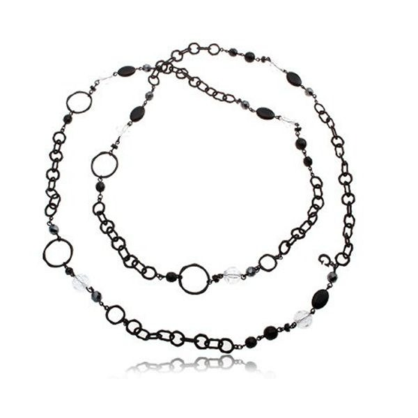 Black Surround Beads Chain Necklace
