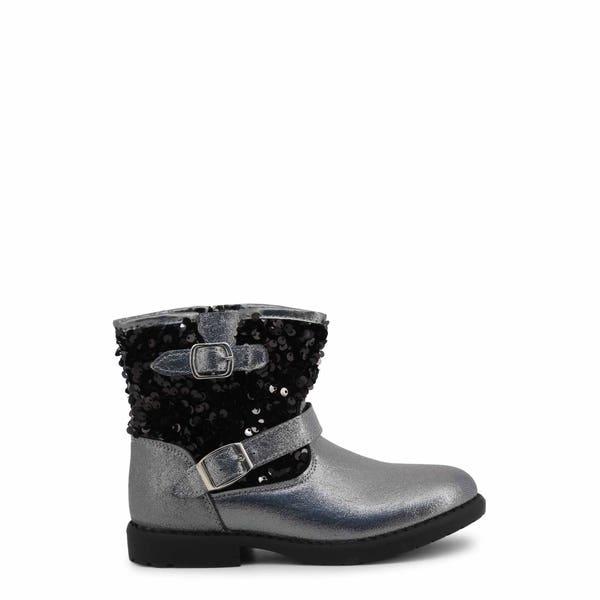 Grey Round Toe Sequin Kids Ankle Boots