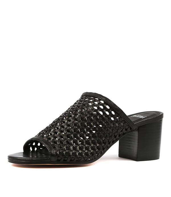 Black Roseann Heel Sandals