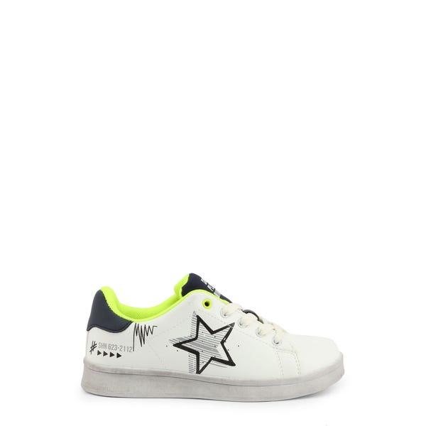 White Round Toe Star Print Kids Sneakers
