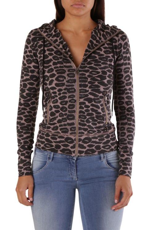 Beige Hooded Zip Animal Print Sweatshirt