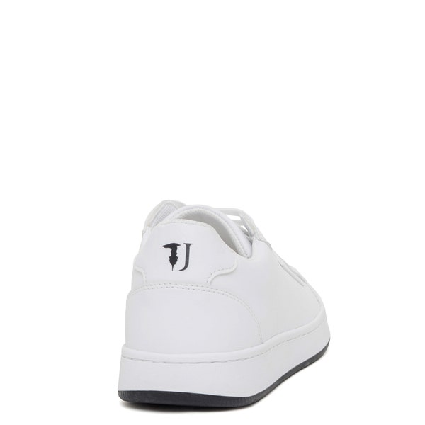 White Round Toe Low Top Sneakers