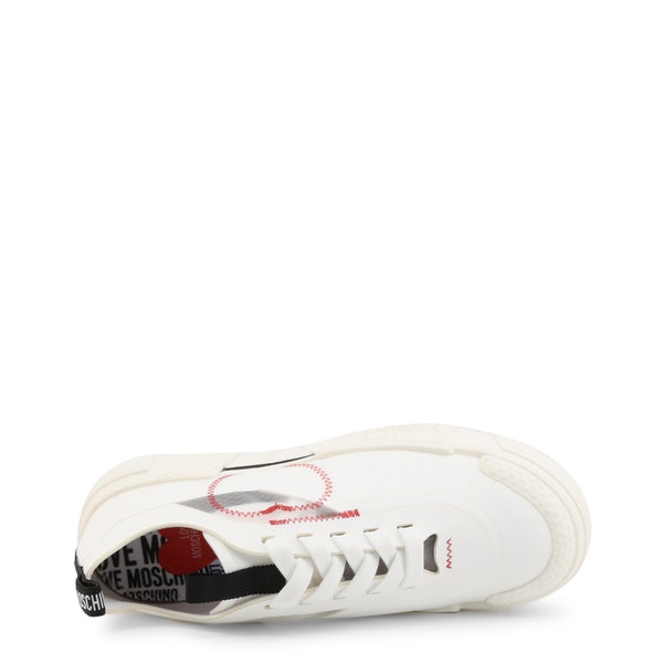 White Round Toe Low Top Heart Sneakers