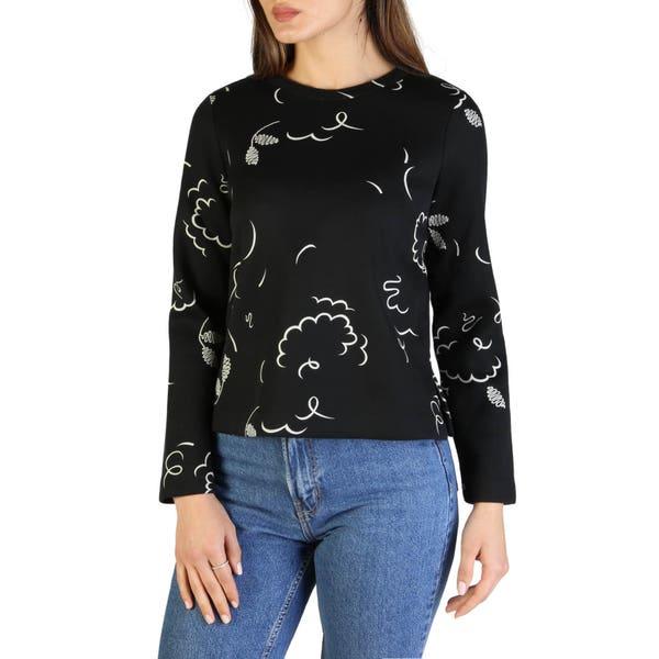 Black Long Sleeve Printed Sweatshirt