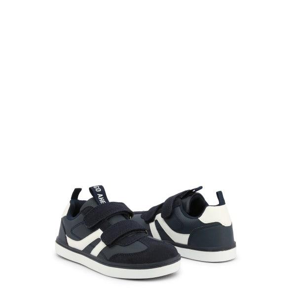 Navy Suede Velcro Strap Kids Sneakers
