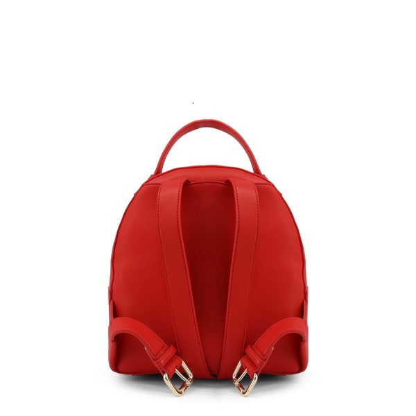 Red Round Zip Leather Backpack