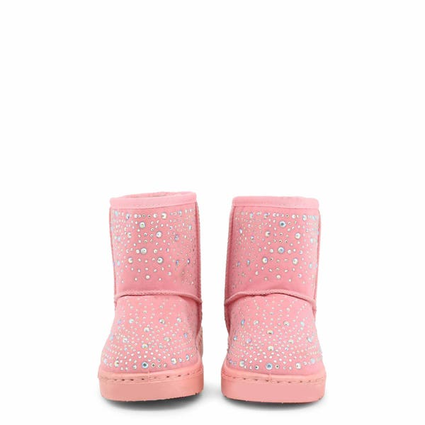 Pink Round Toe Studs Kids Ankle Boots