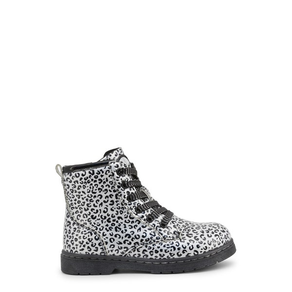 Round Toe Printed Lace Kids Ankle Boots