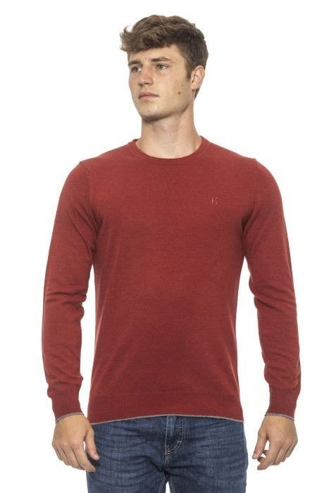 Red Round Neck Long Sleeve Logo Knitwear