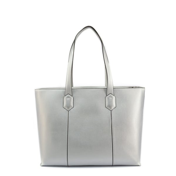 Leather Woven Zip Shopping Bag