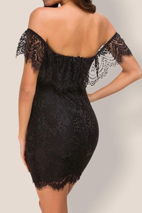 Black Daisy Bodycon Dress