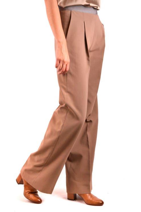 Pleated Wide Leg Plain Trousers