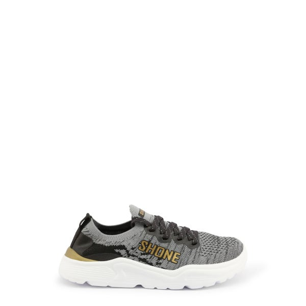 Grey Gold Elasticated Kids Sneakers
